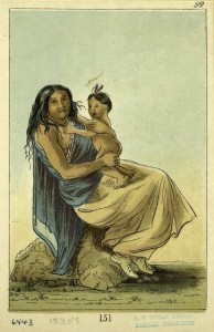 Native American Indian Woman and Child image from the NYPL digital image collection in Spirit Guides of New Orleans Voodoo article
