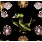 Happy New Year Silly Bird with Fireworks - Amy Marie Adams Artist