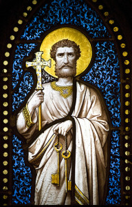 Saint Peter holding the keys to the kingdom.