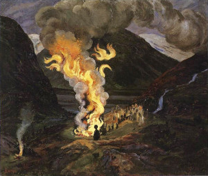 St John's Night Fire Painting by Astrup Jonsokbal 1912