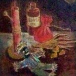 Painting from voodoo museum that features voodoo paraphenalia in the article what is voodoo